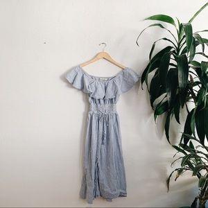 Zara searsucker striped midi dress